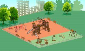 Детская площадка и памятник А. Грину