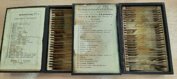 В гимназии нашли старинные микропрепараты